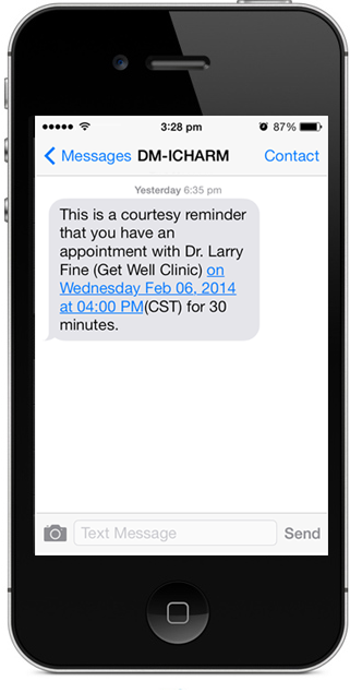 Charm Ehr Supports Text Message Sms Notification