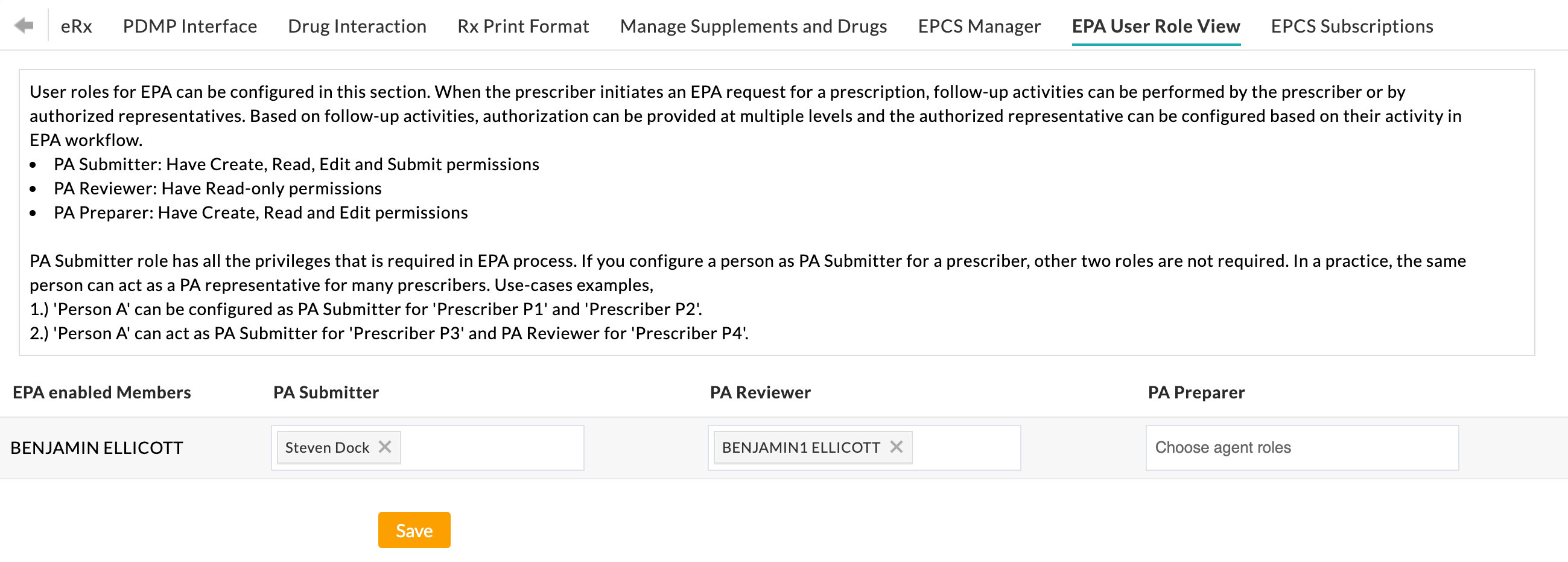 EPA User Role View