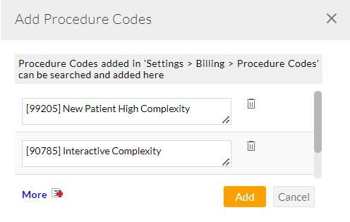 Add Procedure Codes