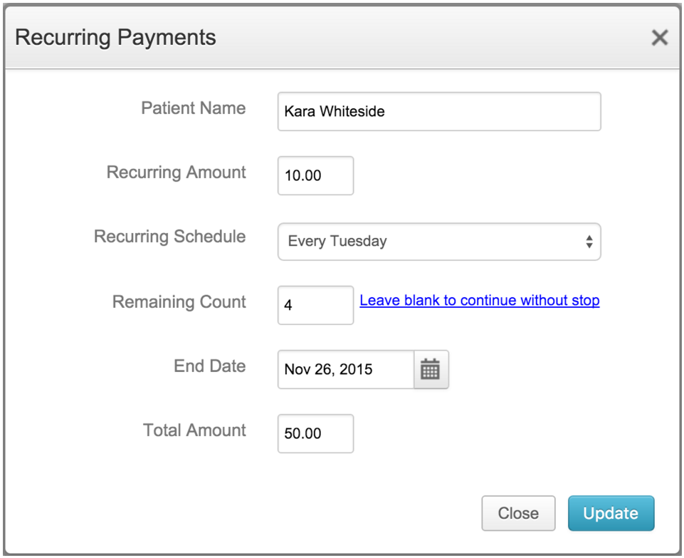 Edit Recurring Payments