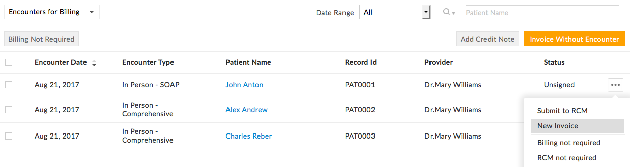charm ehr invoicing for practices