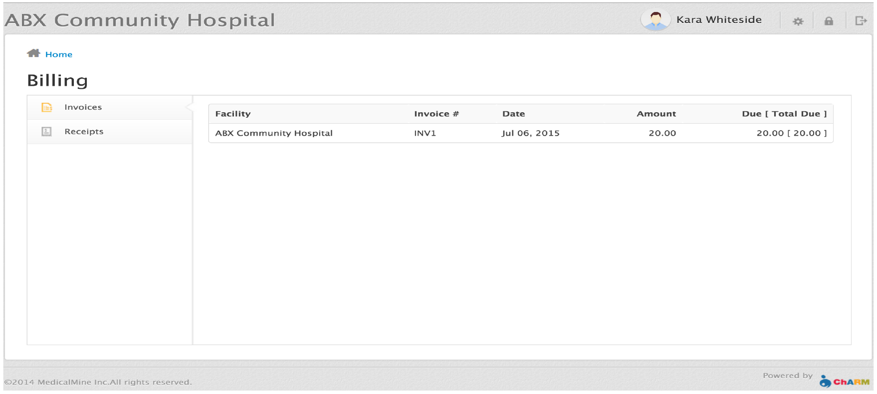 Invoice List For Patient Portal