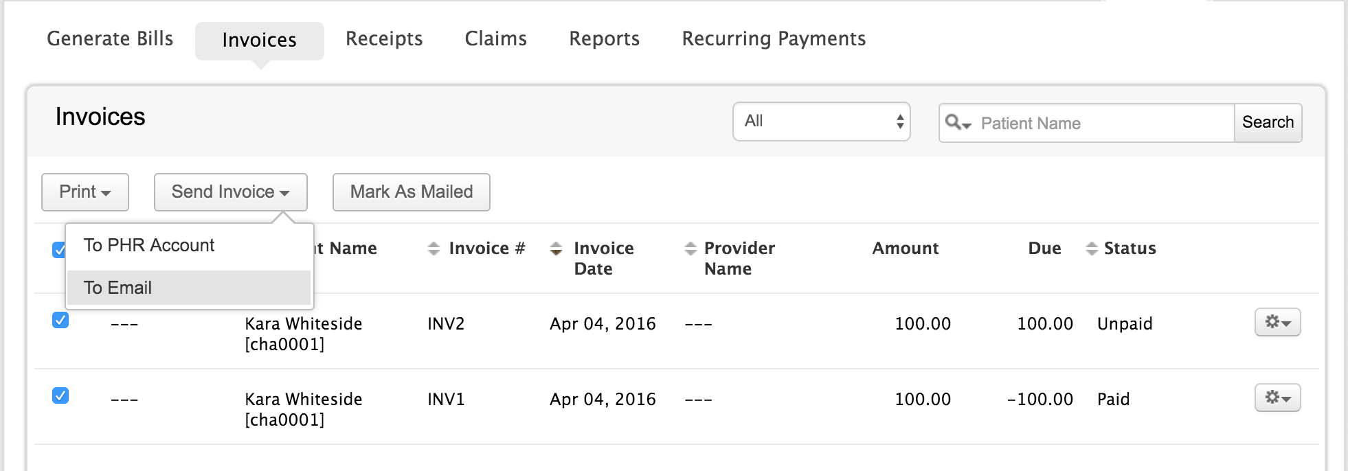 Send Multiple Invoice to Patient