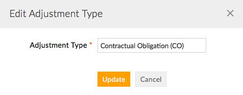 Update Adjustment Type