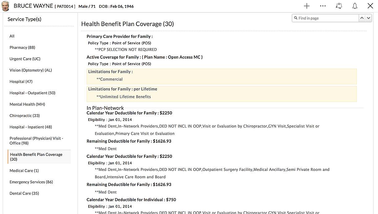 Insurance Eligibility Details