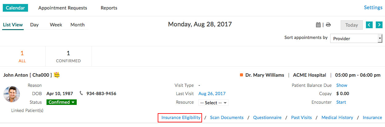Insurance Eligibility From Appt