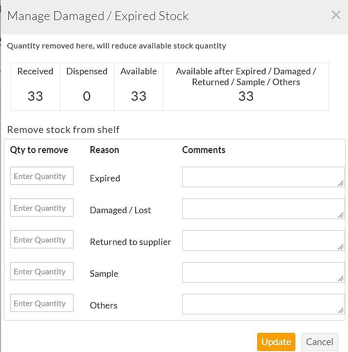Manage Expired Stock