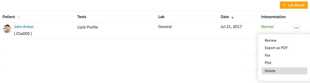 Delete Lab Result
