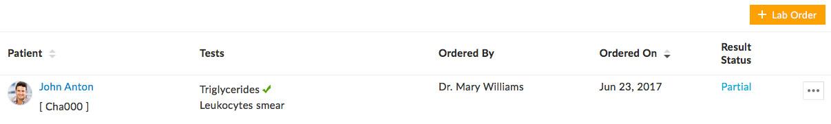 Lab Order Status