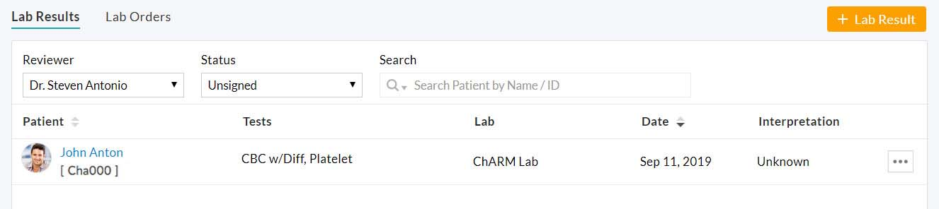 Review Lab Result Option