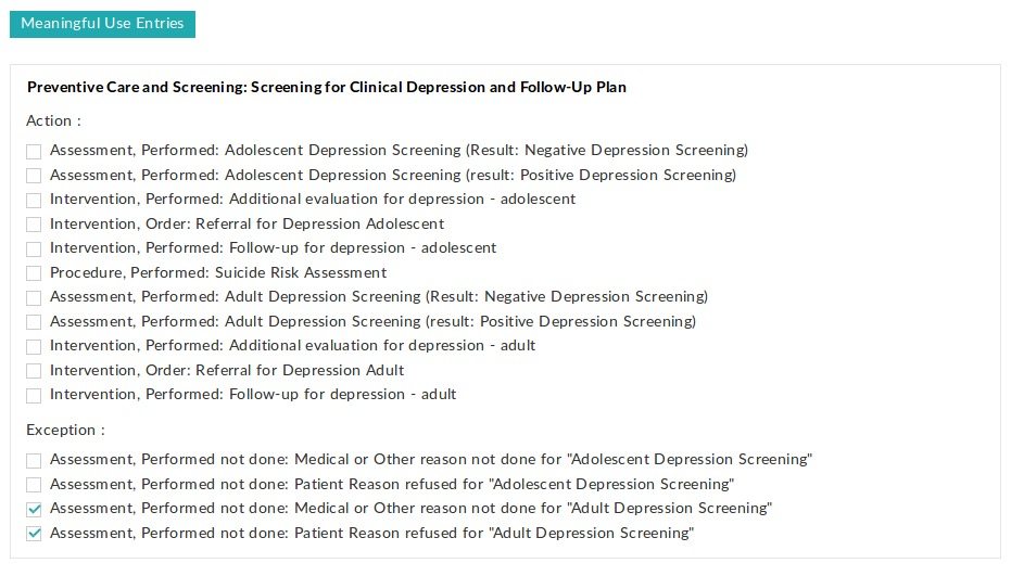 Clinical Depression Screening Exception