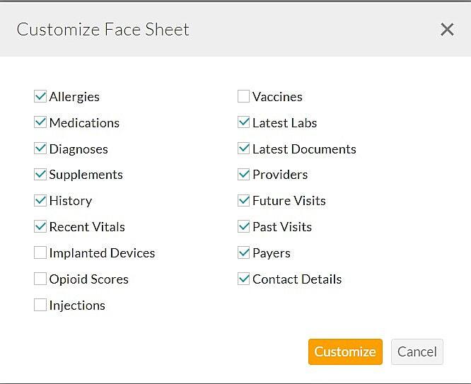 Customize Patient Facesheet