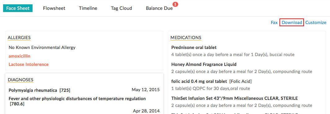 Download Patient Facesheet