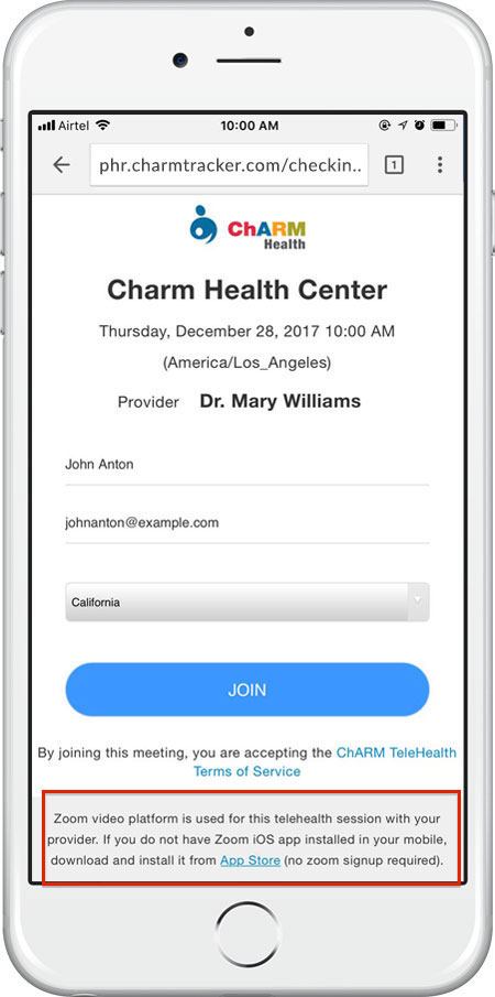 Join TeleHealth From Mobile